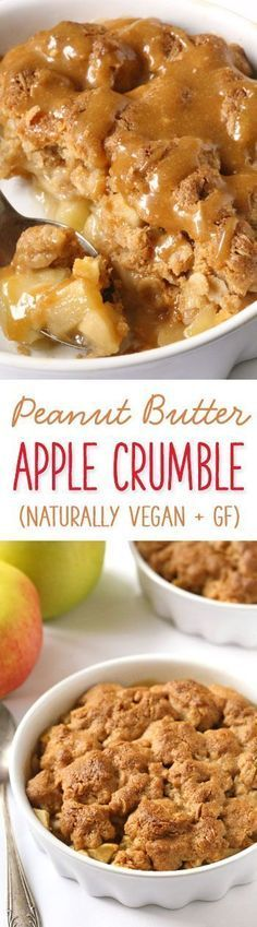 This peanut butter apple crumble has a delicious peanut butter based topping and is incredibly simple to put together {gluten-free, vegan, dairy-free and 100% whole grain}