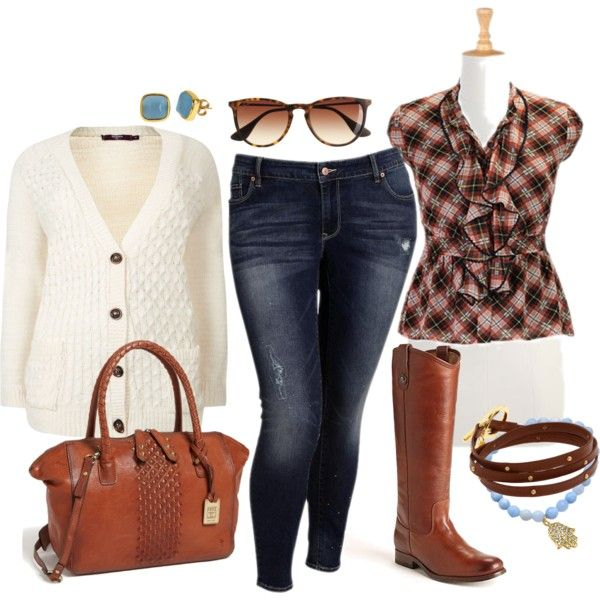 Cozy Plaid Fall - Plus Size, created by alexawebb on Polyvore