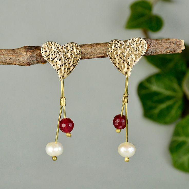 Heart long earrings, hammered stud, white pearl earrings, garnet jade jewelry, Valentine earrings, wife gift idea, love stud, beaded hearts by ColorLatinoJewelry on Etsy
