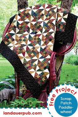 Free Pattern! Dig into your scrap stash and have fun making the Scrap Patch Paddlewheel quilt designed by Lynette Jensen.