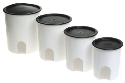 Amazon.com: Tupperware One Touch Reminder Canisters, Set of 4, Black: Food Savers: Kitchen & Dining