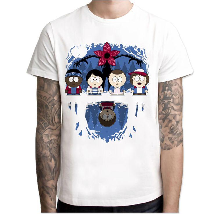 Stranger Things south Park t shirt Men Print T-Shirts Fashion Print T-Shirts Short Sleeve O Neck Tees M7R1219