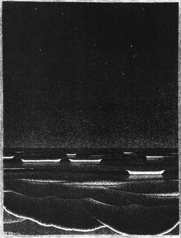 M.C. Escher | Phosphorescent Sea |1933