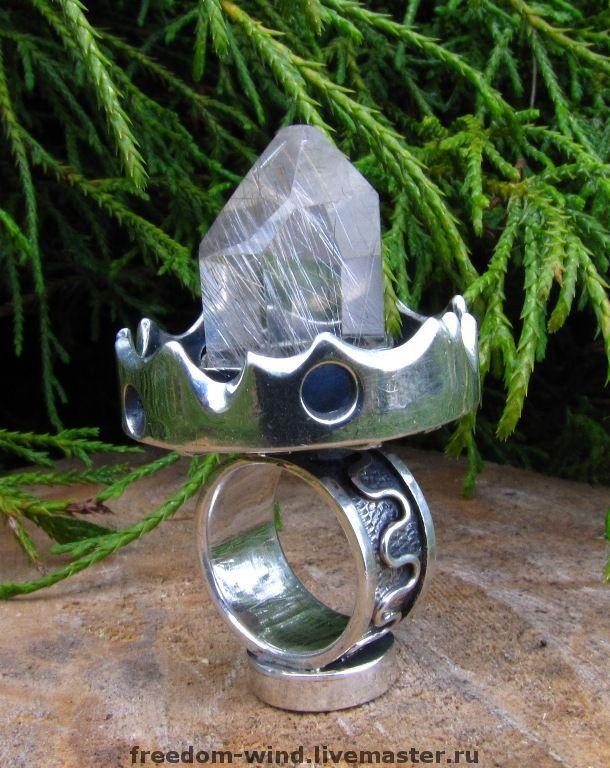 """Купить """"Кольцо Мага"""" - кольцо, украшения, астрология, магия, кварц, кварц-волосатик, гранат"""