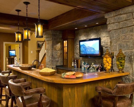 rustic basement bar love the stone wall for the