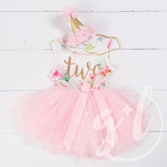 Girls 2nd Second Birthday Set Outfit Tutu Skirt Party Personalised Pink Gold Bow
