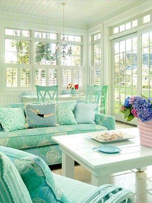Aqua sunroom.: Mint Green, Living Rooms, Window, Sunrooms, Color, Sun Porches, Beaches Houses, Sunporch, Sun Rooms