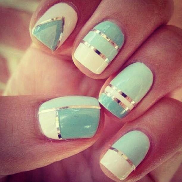 color block with nail tape mani