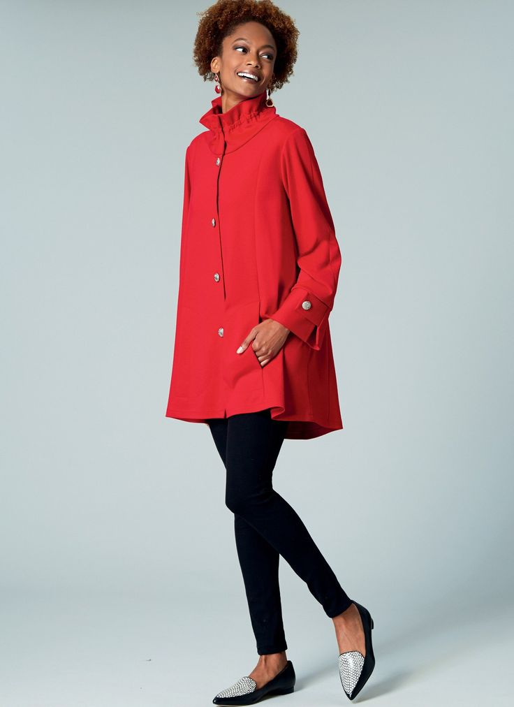 M7512 Misses' Button-Front Jackets with Gathered Collar
