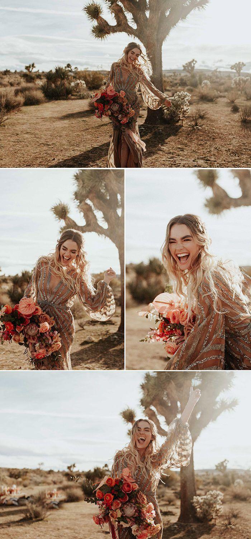 This rose gold joshua tree wedding inspiration is like a boho glam