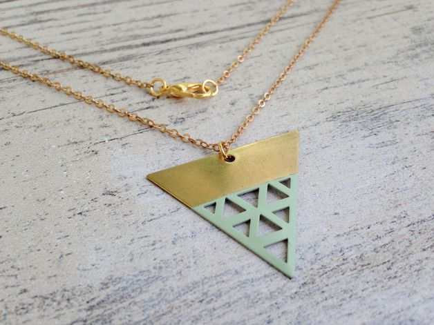 Lange Kette mit geometischem Anhänger, Boho Style, Festival Accessoire, Mintgrün / long necklace with geometrical pendant, accessory made by MiMaMeise via DaWanda.com