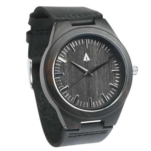 Tree Hut Black Wooden Watch | This wooden Tree Hut watch has genuine black leather bands and is handmade in San Francisco from real wood with available engraving.