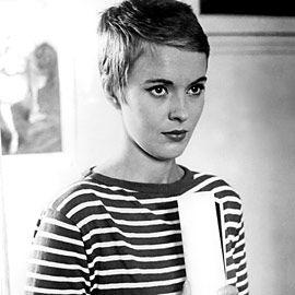 Jean Seberg Breathless: A Mini-Saia Jeans, Pixie Haircuts, Jeanseberg, Style Icons, Stripes Shirts, Mia Farrow, Jeans Seberg, Shorts Hair Style, Pixie Cut