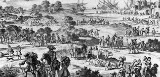 Hugenoten vluchtten uit Frankrijk.(1685).  De hugenoten vluchtten uit Frankrijk omdat hun soort geloof verboden werd, zij waren protestants en de koning (Lodewijk XIV) wilde dat iedereen katholiek was. Omdat de koning in bezit was van het absolutisme kon hij dat daadwerkelijk ook zeggen. Het was onveilig voor de hugenoten en daarom besloten ze om te vertrekken uit Frankrijk.