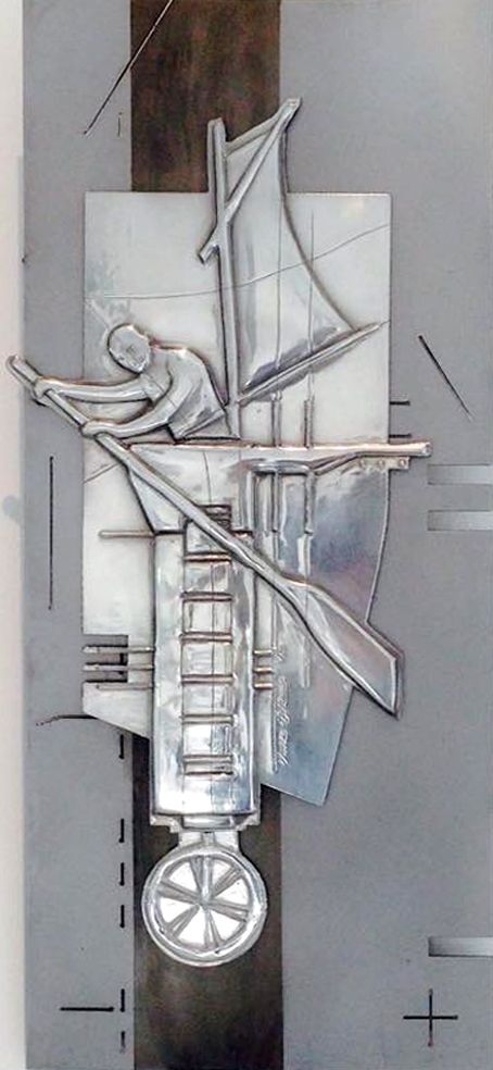 The Plan  235 x 535 mm Pewter, Mild Steel, Etching  Artist Martie Bitzer