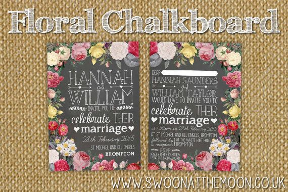Floral Chalkboard Wedding Invitation by SwoonattheMoon on Etsy, £3.00