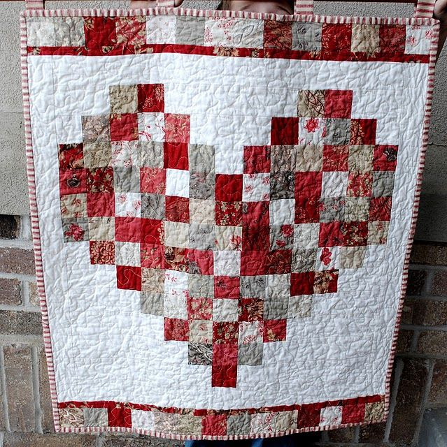 Such a cute Valentine quilt.  Simple to make, even without a pattern.  This will make good use of scraps from Moda French General Rouennieries quilt fabrics.