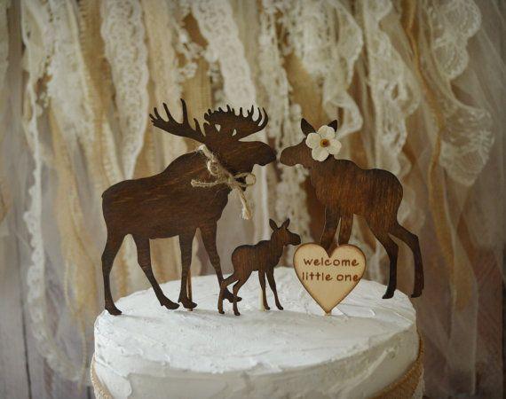 Moose baby shower cake topper wedding moose by MorganTheCreator