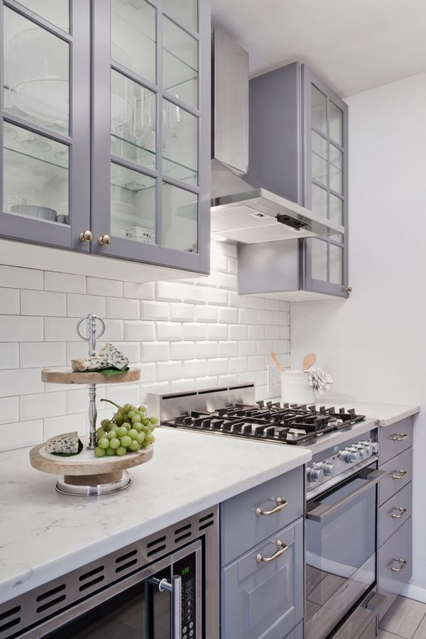 Grey IKEA Cabinetry Paired With White Subway Makes For A Perfect Small  Kitchen Space. Love The High Cupboards