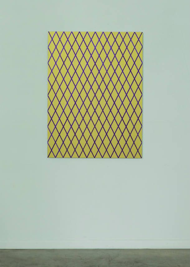 "Winston Roeth (b 1945) ~ ""Diagonals (Gold)"", 2013. Pigments and polyurethane dispersion on Dibond panel (122 x 91.5 cm). 