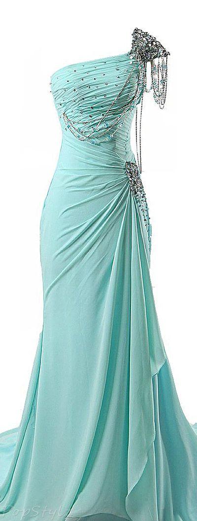 One Shoulder Mermaid Prom Dress,Beaded Prom Dress,Fashion Prom Dress,Sexy Party Dress,Custom Made Evening Dress