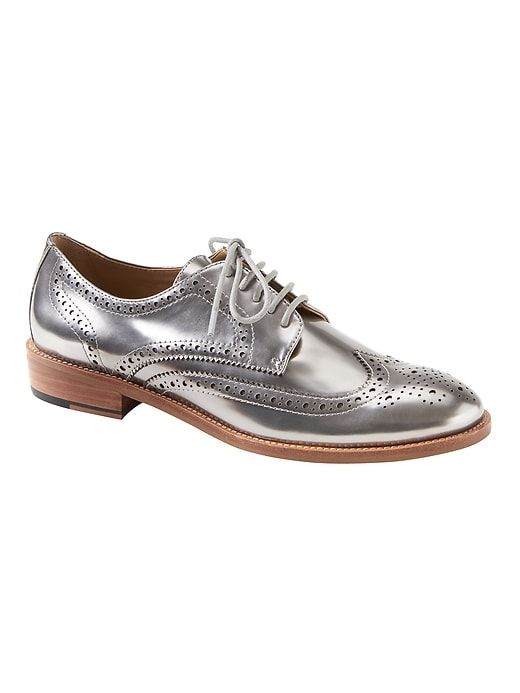 31092bbdaf1 Banana Republic Womens Silver Patent Leather Brogue Oxford Silver Patent  Leather