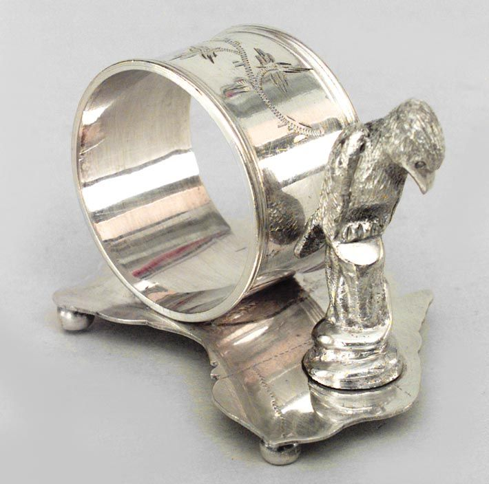 English Victorian accessories napkin holder silver-plate