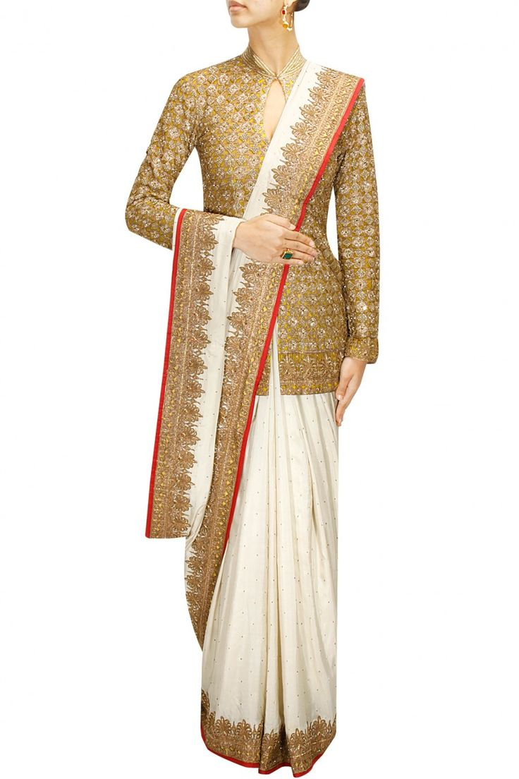 Ivory embellished sharara and dupatta with fully embroidered jacket available only at Pernia's Pop-Up Shop.