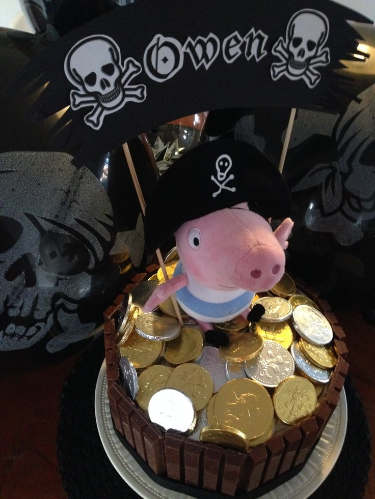 George, Peppa Pig birthday cake, plush George pirate