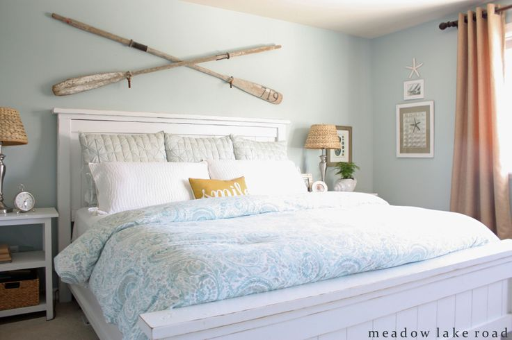 A beachy master bedroom tour   www.meadowlakeroad.com