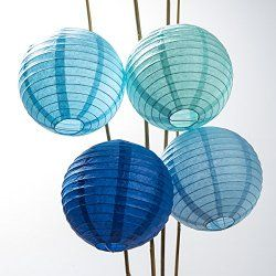 Luna Bazaar Multicolor Blue Rice Paper Lanterns, Chinese Lamp Shades (Parallel Ribbing, 8-Inch, Set of 12) - Paper Lanterns with Lights