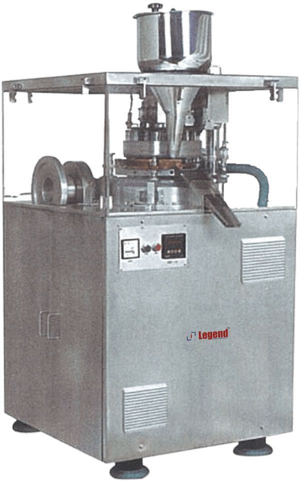 Legend Pharma Hexa Press single rotary tablet compression machine with a maximum output  & turret speed for vetinary tablets & slugging.