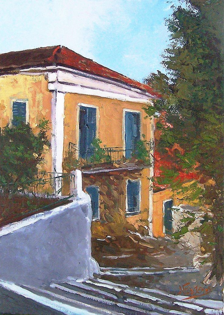 Plaka Athens 35x50cm oil painting by Babis Douzepis