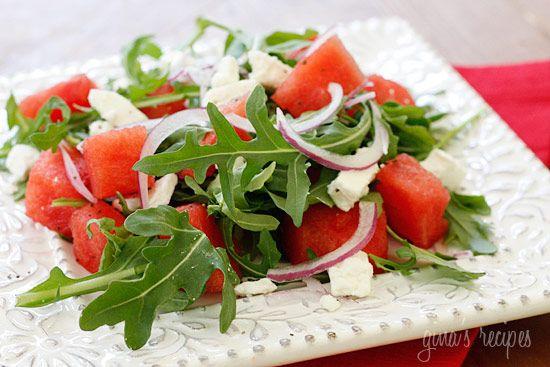 Watermelon Arugula & Feta SaladWatermelon Salad, Yummy Healthy Recipe Salad, Watermelon And Arugula Salad, Skinny Taste, Feta Salad, Summer Salad, Watermelon Arugula, Healthy Food, Arugula Salad Recipe