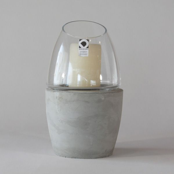 EC60 CONCRETE CANDLE HOLDER ↔17.0cm ↑29.0cm. Grey matte concrete and glass candle holder. High quality handmade objects Designed+Made by Decovery | Essential Details.