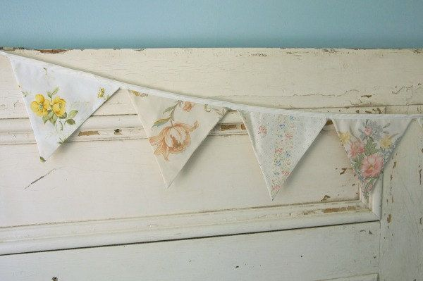 Vintage Floral Bunting Banner, Tea Party, Birthday - Vintage Fabric - Pennant Banner, Nursery Decor, Birthday Banner by EvaandDell on Etsy