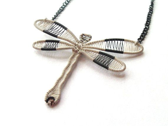 Dragonfly Necklace Wire Wrapped Black And by DragonflyHJewellery