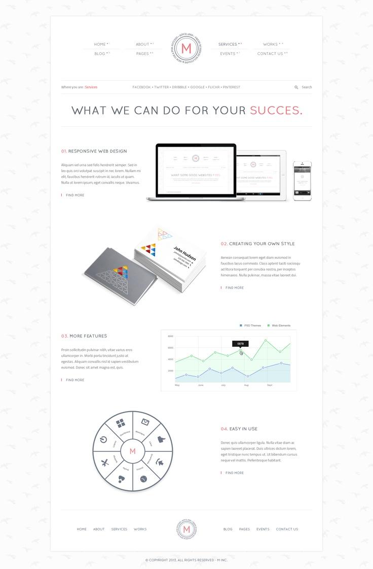 WhiteM – light PSD website template  #design #webdesign #template #web #graphic #psd #photoshop #website #light #clean #minimal #style