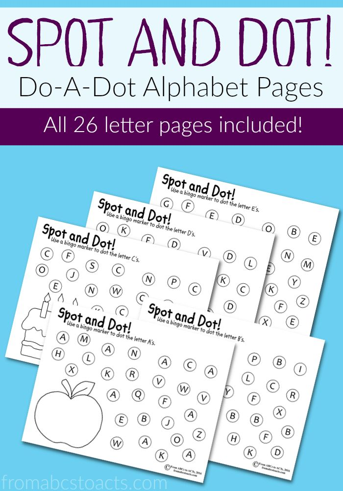 Practice the letters of the alphabet, hand-eye coordination, fine motor skills, and more with these Spot and Dot alphabet pages for preschoolers!