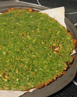 Jo and Sue: Spinach Crust Pizza  Can be used as an alternative to flour pizza crust, wraps or sooo much more
