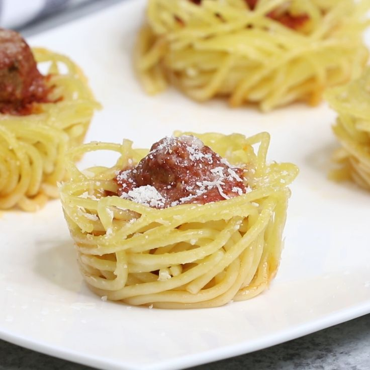 Spaghetti Meatball Cups   – Kochen