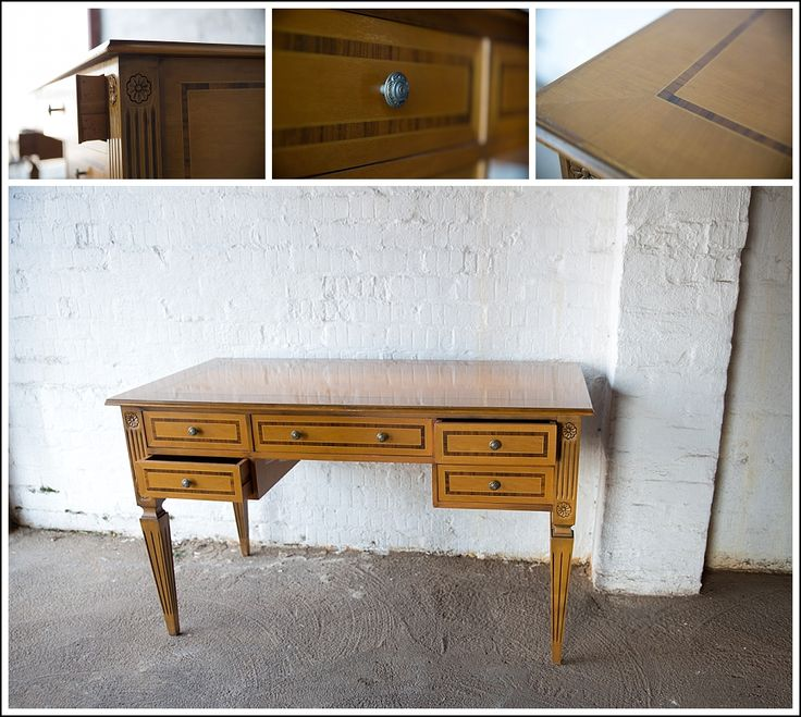 #SOLD! #NorthcliffAntiques A satinwood neoclassical style desk with rosewood stringing on the writing surface and the drawers. #LibraryFurniture #Johannesburg #Antiques #Longstreet