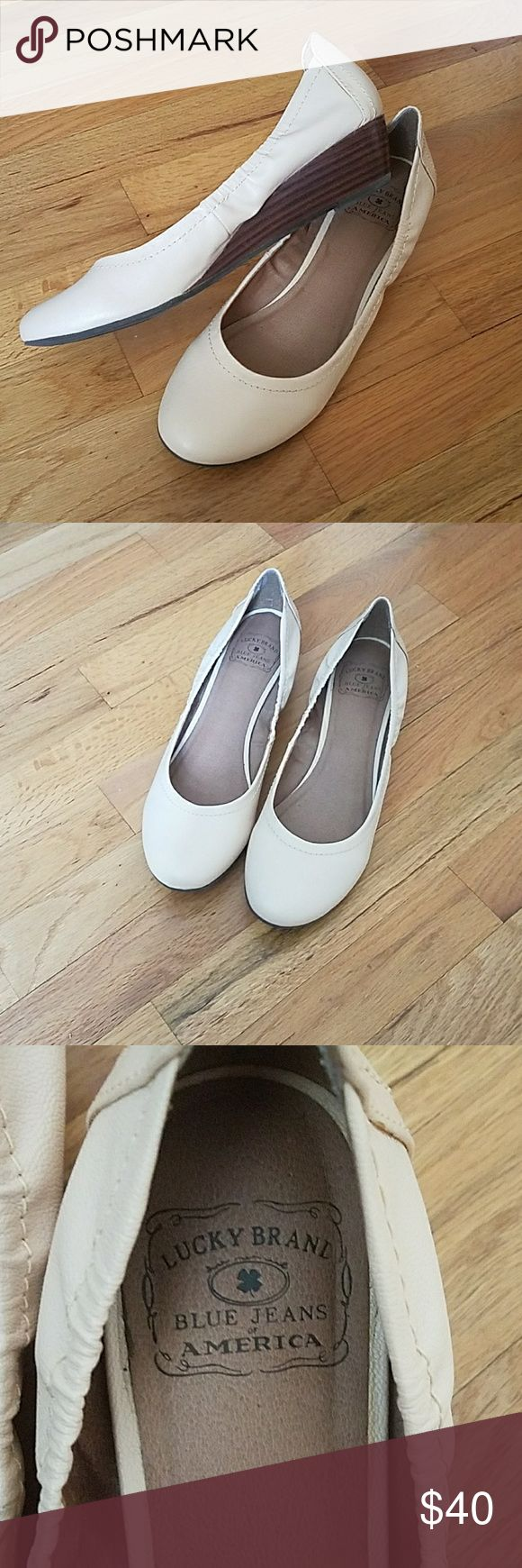 Lucky brand cream wedges. Lucky brand cream wedge shoes. These are essentially brand new only worn once. Lucky Brand Shoes Wedges