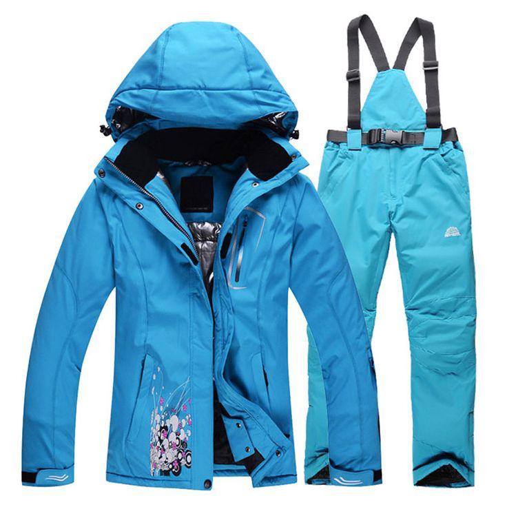 Pas cher Femmes Ski Suit définit coupe   vent imperméable veste hiver Ski + pantalons femmes pantalons de neige femmes veste avec mode fleur impression, Acheter  Ski vestes de qualité directement des fournisseurs de Chine: Femmes combinaison de ski ensembles coupe-vent imperméable à l'eau d'hiver Ski veste + pantalon femelle de neig