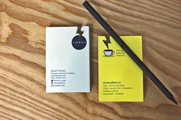 """Eksempel på et kort som går litt lengre i bruken av virkemidler: utstanset """"lyn"""" som også fungerer som damp.  cafeina"""