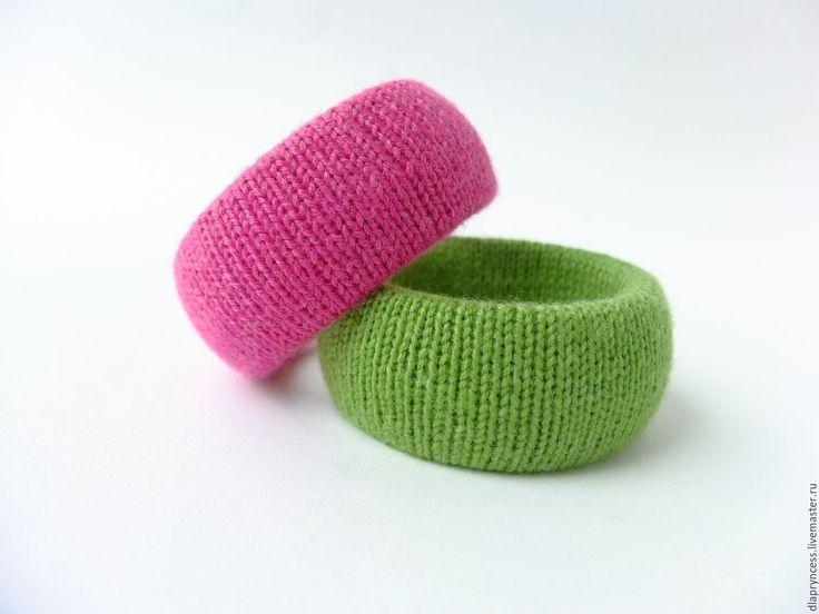"""Купить Сет браслетов """"Фуксия"""" вязаные браслеты - текстильный браслет, фактурный браслет, браслет с узорами"""