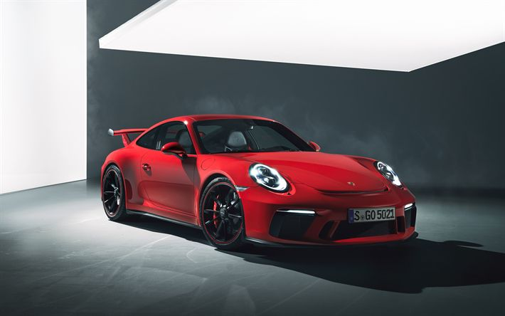 Download wallpapers Porsche 911 GT3, 2018, 4k, red sports coupe, German cars, sports cars, tuning, red-black wheels, Porsche