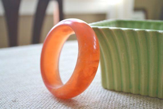 Vintage Orange Marbled Lucite Bangle Bracelet by talkOfThetown, $38.00