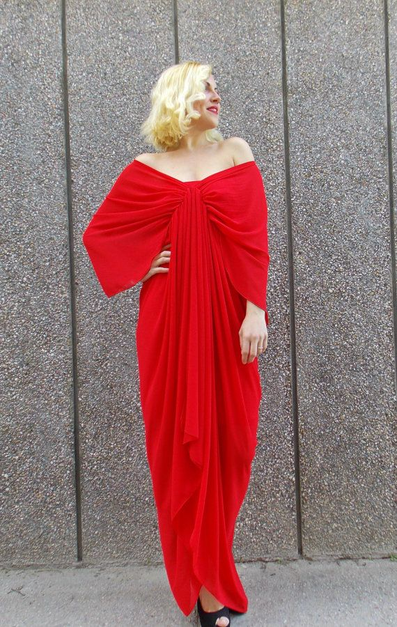 Asymmetric maxi kaftan dress made of sheer red chiffon vaporous veil. Pencil underneath coral trikot dress. Elegant and fancy dress. Extravagant summer kaftan. Two pieces included.  Care instructions: veil: 100% polyester underneath dress: 95% viscose, 5% full lycra Hand wash at 30 degrees  The model in the picture is size S.  Can be made in ALL SIZES.  If you have any other specific requirements, do not hesitate to contact me!  I DO NOT CHARGE EXTRA MONEY for custom made items.  All you…