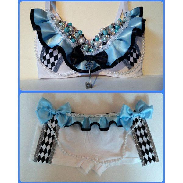 RaverLandDesigns Alice in Wonderland Rave Bra Outfit Beyond Wonderland... ($85) ❤ liked on Polyvore featuring intimates, bras, grey, lingerie, women's clothing, grey bra, lingerie bras and sexy lingerie